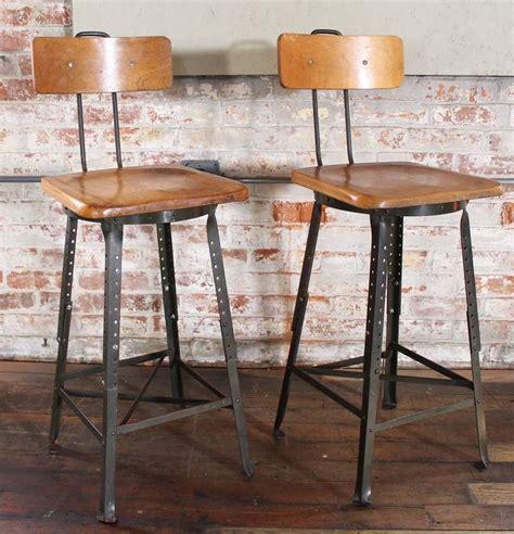vintage wood and metal bar stools pair of vintage industrial adjustable wood and metal