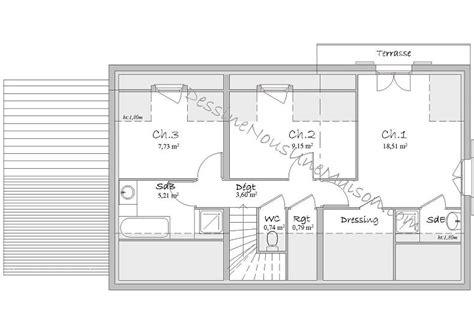 Plan Maison Etage 3 Chambres by Plan Maison Etage 3 Chambres Gratuit 5 Plans De Maisons