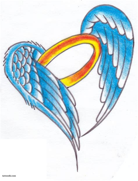 angel wings with halo tattoo designs design
