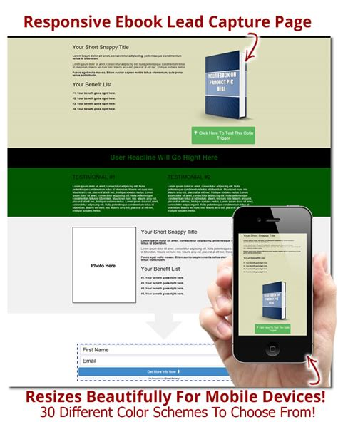 responsive capture page templates for ebooks and product