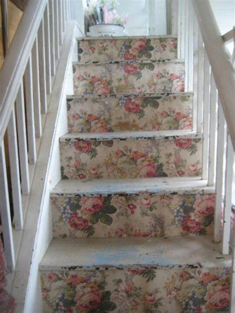 diy stair treads  vintage style wallpaper  fabric
