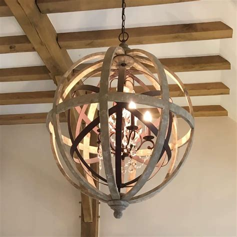 Large Wooden Orb Chandelier Large Wooden Orb Chandelier With Metal Orb Detail