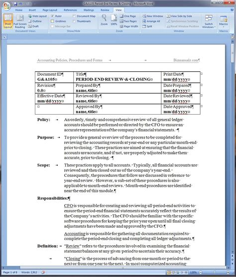 sop templates for word period end review and closing policy and procedure word
