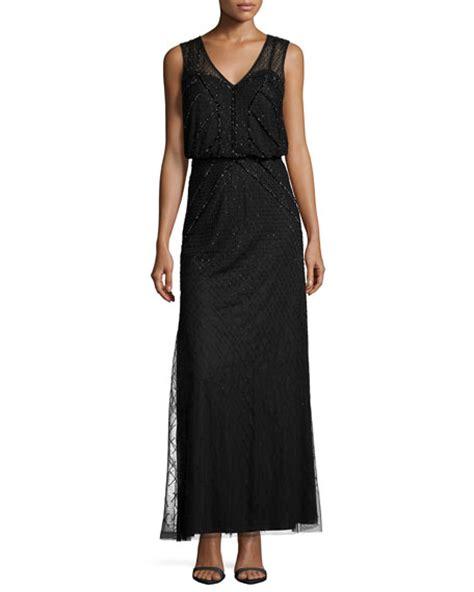 Yoku Dress V aidan mattox sleeveless sequined blouson column gown