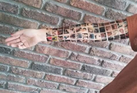 tattoo arm facebook woman gets 152 tattoos of facebook friends on her arm