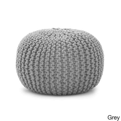 Grey Pattern Pouf | comfort research beansack rope knit 20 inch pouf ottoman