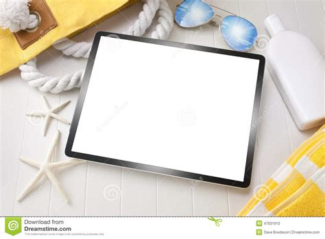 Tropical Beach Theme - tablet computer travel vacation technology background stock photo image 47031910