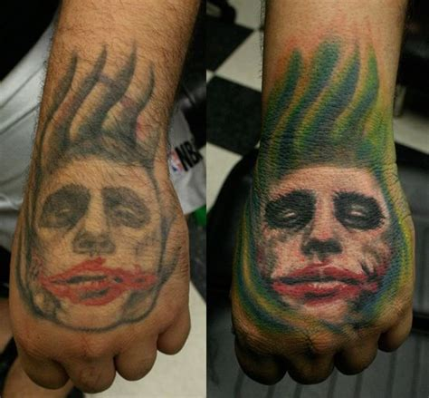 joker hand tattoo heath ledger joker on jpg 555 215 515