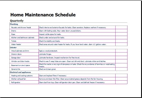 Home Schedule Template home maintenance schedule template for excel excel templates