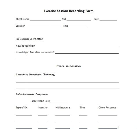 Exercise Session Recording Form Recording Session Sheet Templates