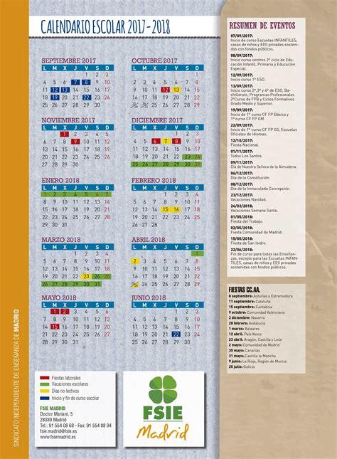 Calendario Escolar 2017 18 Madrid Fsie Madrid Calendario Escolar Curso 2017 18 En La