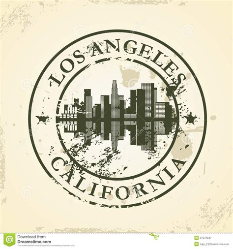 grunge rubber stamp with los angeles california royalty