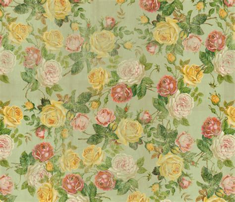 vintage faded floral pink yellow green shabby chic fabric