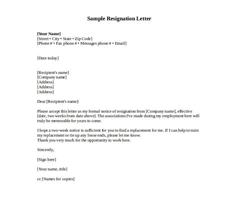 job resignation letter templates word