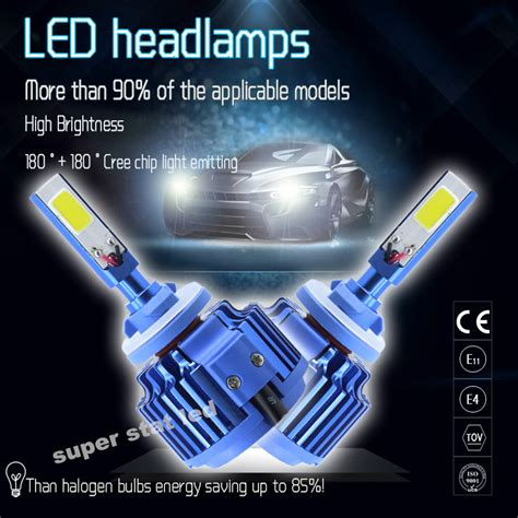 Led New Model Chip Eti H4 Hi Low 2x auto h4 car led headlight high power auto h4 3 hi lo high low white 6000k repalcement