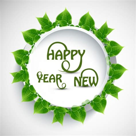 new year green happy new year text with green leaves vector free