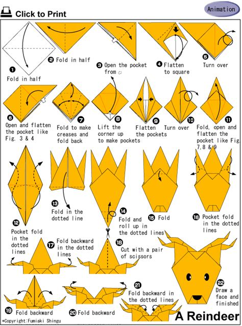 How To Make A Paper Deer - origami 5to y 6to grado