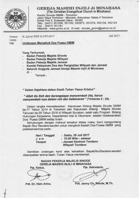 Contoh Surat Undangan Formal Gmim contoh surat undangan rapat klub motor