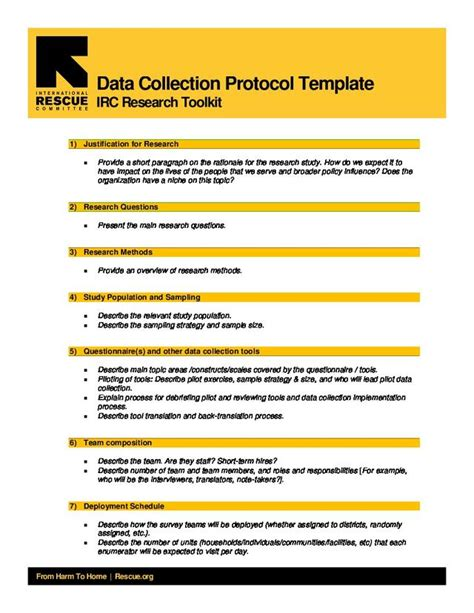 protocol template research data collection protocol template international