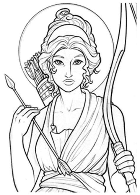 Artemis Greek Goddess Easy Drawings Sketch Coloring Page