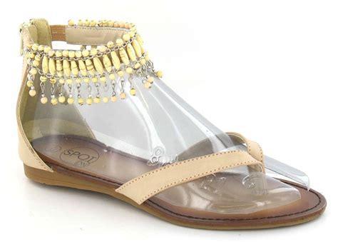 beaded ankle sandals spot on flat toepost sandal beaded ankle ebay