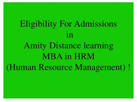 Mba In Hr And Administration by Amity Distance Learning Mba In Hrm Human Resource