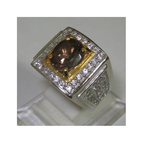 Ring Pria cincin silver smokey quartz untuk pria ring 11 5 us