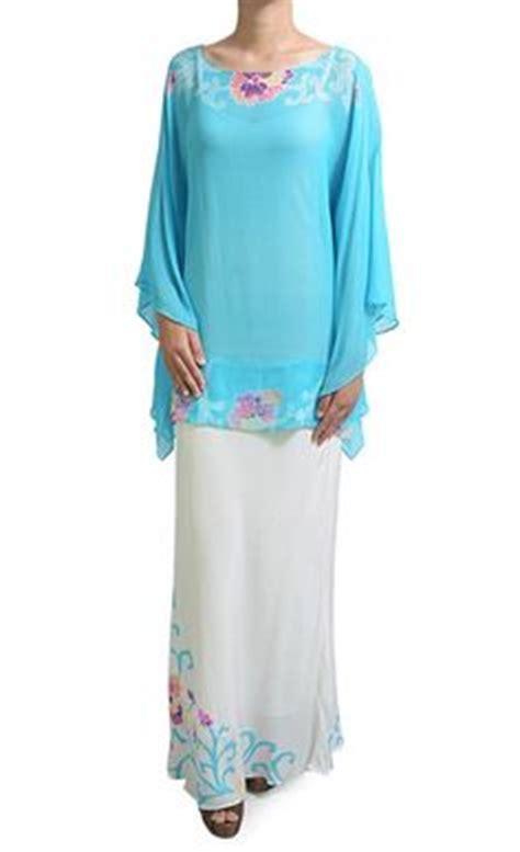 Kaftan White Bordir Warna baju kurung pahang moden pesak gantung blue baju kurung moden baju kurung