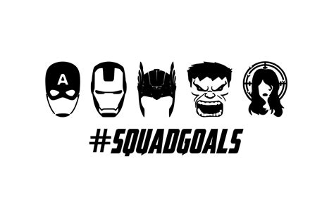 squad goals captain america iron man thor hulk black