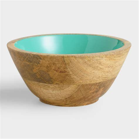 wooden salad bowls small lagoon blue wood salad bowl set of 2 world market