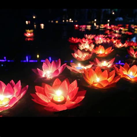 silk lotus flower wishing lamp floating water candle light
