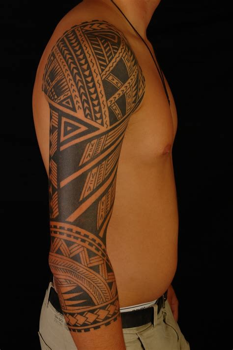 hawaiian tribal tattoos sleeves maori polynesian polynesian 3 4 sleeve