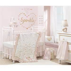 lambs confetti 4 crib bedding set pink gold