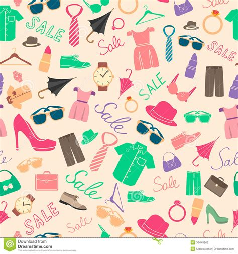clothes pattern vector fashion and clothes accessories seamless pattern royalty