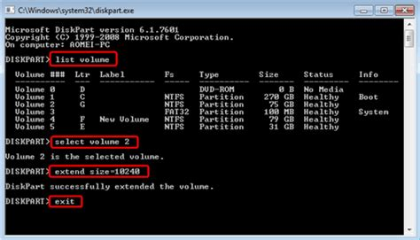 format diskpart ntfs quick diskpart to resize ntfs fat boot partition in windows 7
