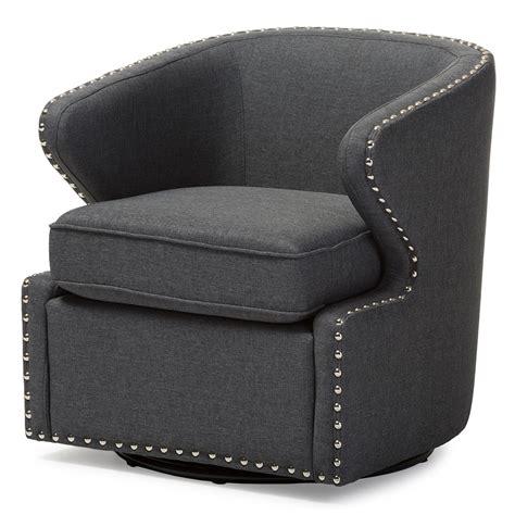 Modern Swivel Armchair by Baxton Studio Harrison Finley Mid Century Modern Fabric
