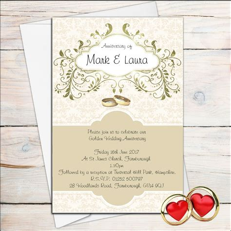 10 personalised golden wedding anniversary invitations n13