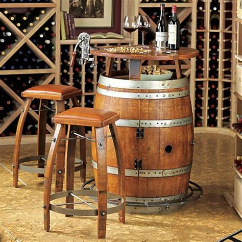 Wine Bar Furniture Vintage Oak Wine Barrel Bistro Table Bar Stools