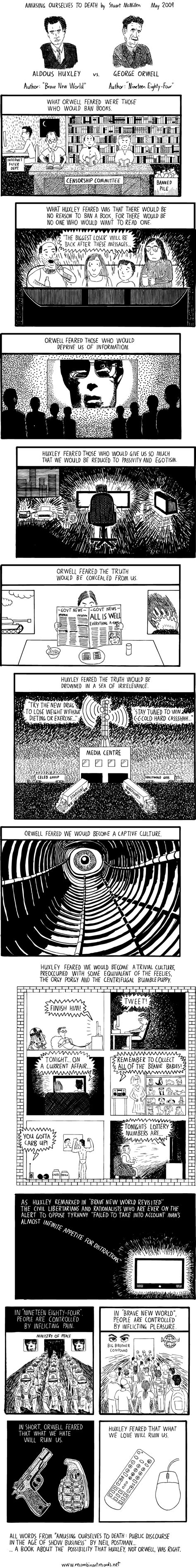 themes of brave new world and 1984 amusing ourselves to death comic strip 171 twistedsifter