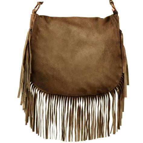Tas Selempang Fashion Cushion 7026 bruine franje tas tassen sacha
