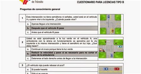 nuevo banco de preguntas para sacar licencia de conducir - Preguntas Ant Licencia Tipo B 2017