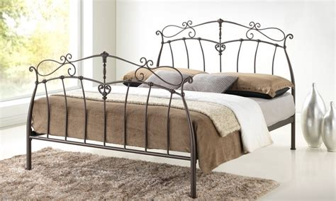iron platform bed full wrought iron platform bed groupon goods