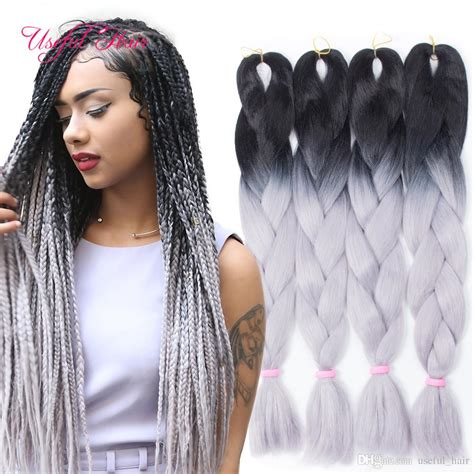 two color box braids ombre grey jumbo braiding hair synthetic two tone hair
