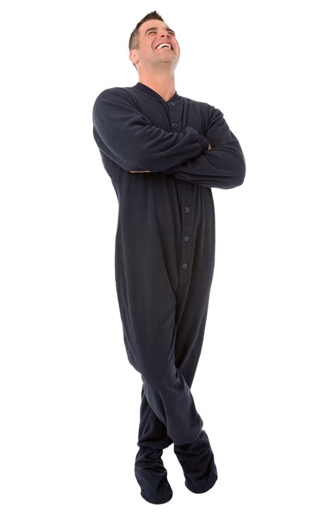 big pjs navy fleece footed pajamas for and