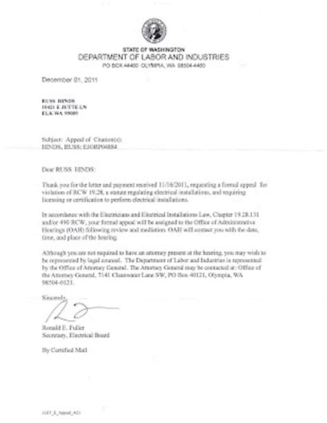 Appeal Letter For Wrongful Termination Fined 1500 00 For Looking For A December 2011