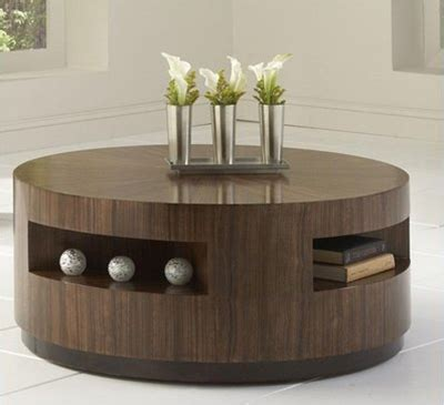 Coffee Table: Modern Round Storage Coffee Table Design