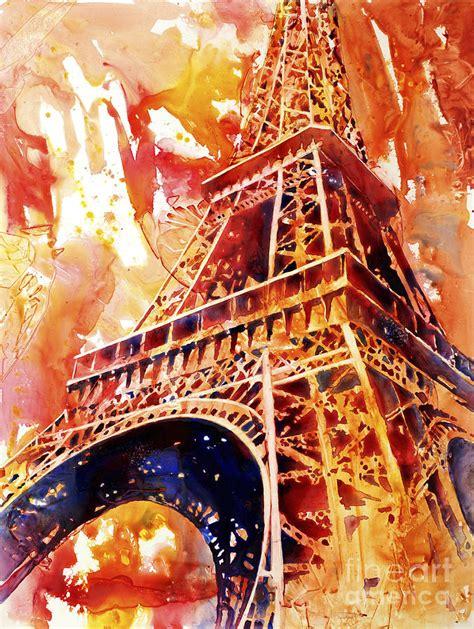 Eiffel Tower Duvet Eiffel Tower In Red Painting By Ryan Fox