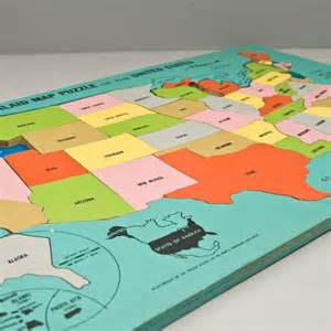 vintage playskool wooden united states map by whitecatvintage