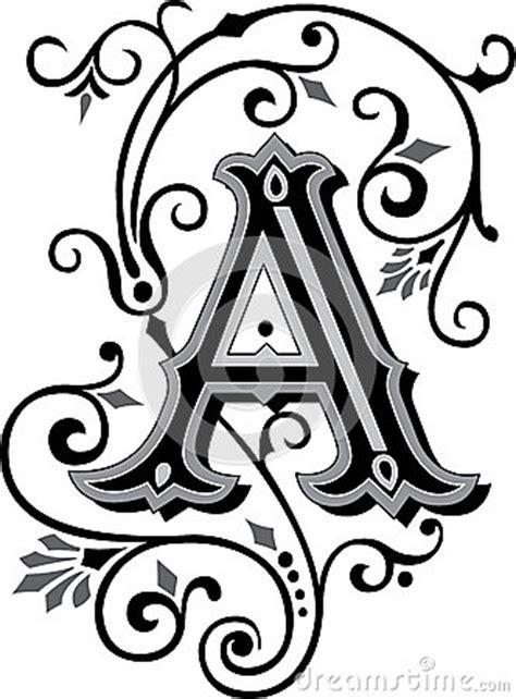 lettere gotiche decorate le bel ornement marquent avec des lettres a image stock