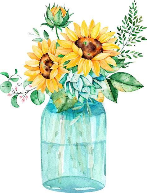 quot sunflowers mason jar sunflower bouquet watercolor